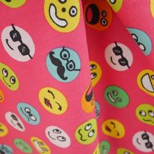 100% Cotton Smiley Face Print on Cerise Pink Fabric x 0.5m